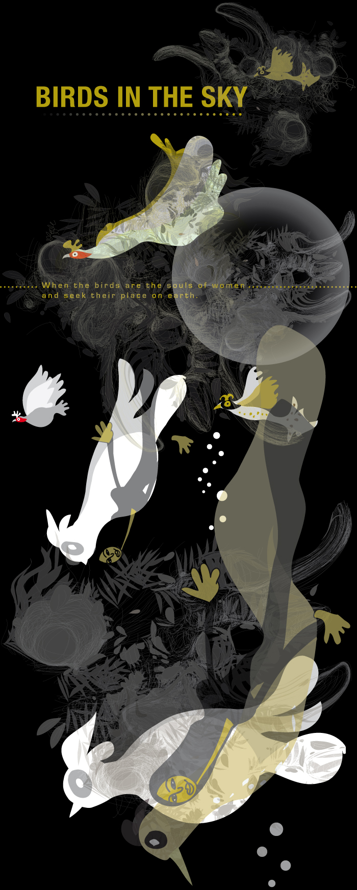BIrds in the sky, illustrated by Montse Noguera